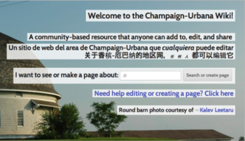 The homepage of the Champaign-Urbana Wiki, a community-based resource that anyone can add to, edit, and share.