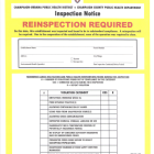 A draft version of a reinspection notice. Public health officials are drafting ordinances that would require food establishments to post a color-coded placard that indicates the results of each health inspection. Yellow means the food establishment failed its health inspection with an adjusted score below 36 and but can remain open pending a reinspection within 30 days.